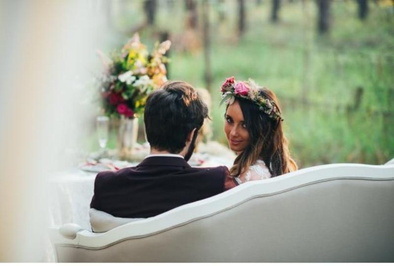 Picture Of intimate bohemian woodland wedding inspiration  16