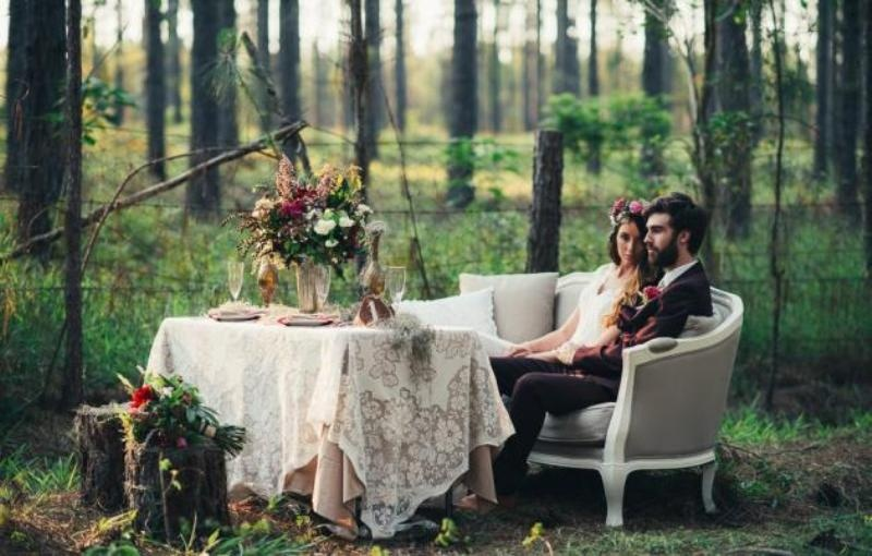 Picture Of intimate bohemian woodland wedding inspiration  17