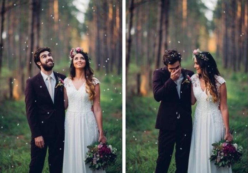 Picture Of intimate bohemian woodland wedding inspiration  19