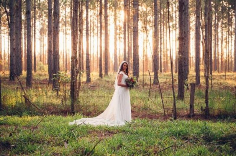 Picture Of intimate bohemian woodland wedding inspiration  24