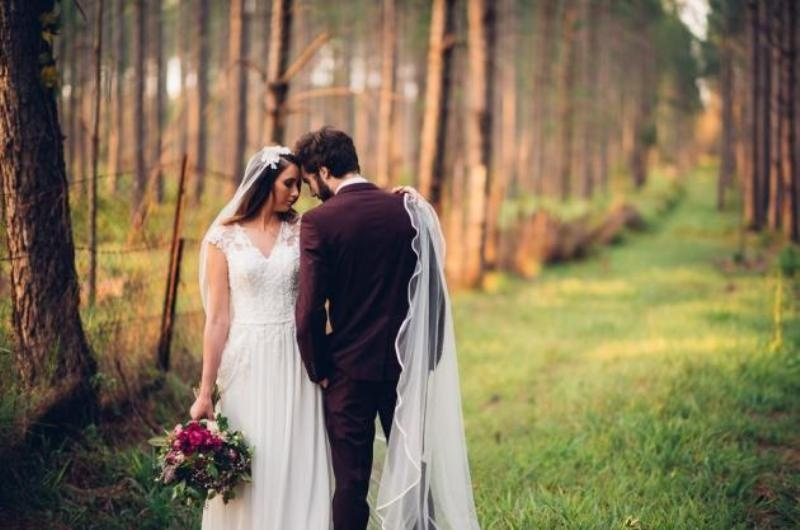 Picture Of intimate bohemian woodland wedding inspiration  26