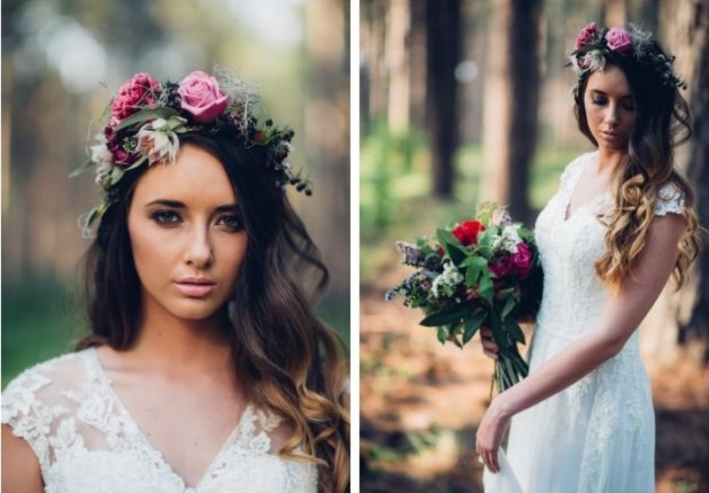 Picture Of intimate bohemian woodland wedding inspiration  3