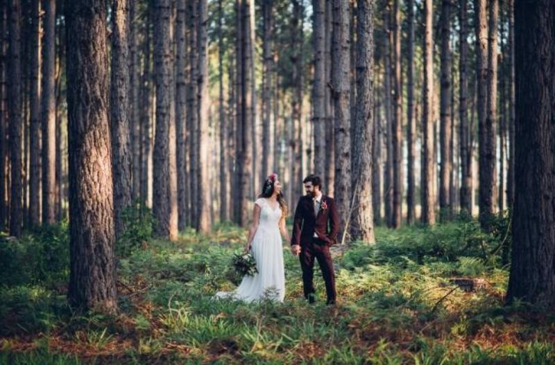 Picture Of intimate bohemian woodland wedding inspiration  4