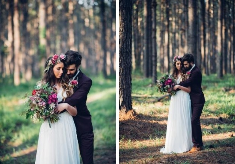 Picture Of intimate bohemian woodland wedding inspiration  5