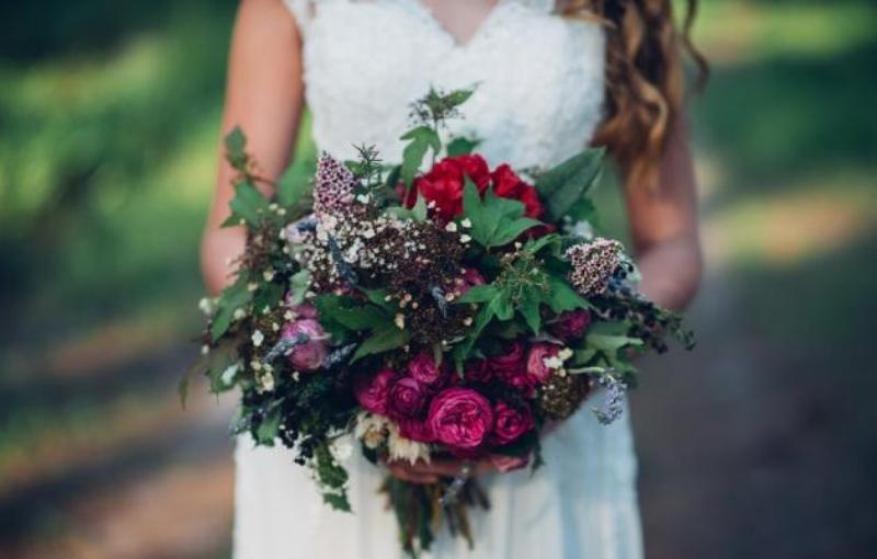 Picture Of intimate bohemian woodland wedding inspiration  6