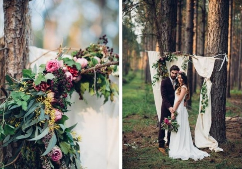 Picture Of intimate bohemian woodland wedding inspiration  7