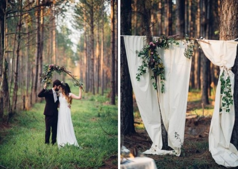 Picture Of intimate bohemian woodland wedding inspiration  8