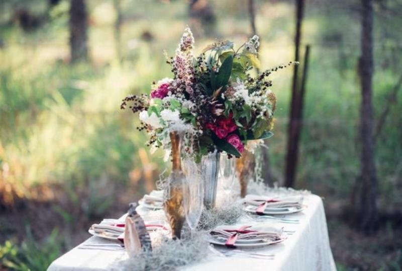 Picture Of intimate bohemian woodland wedding inspiration  9