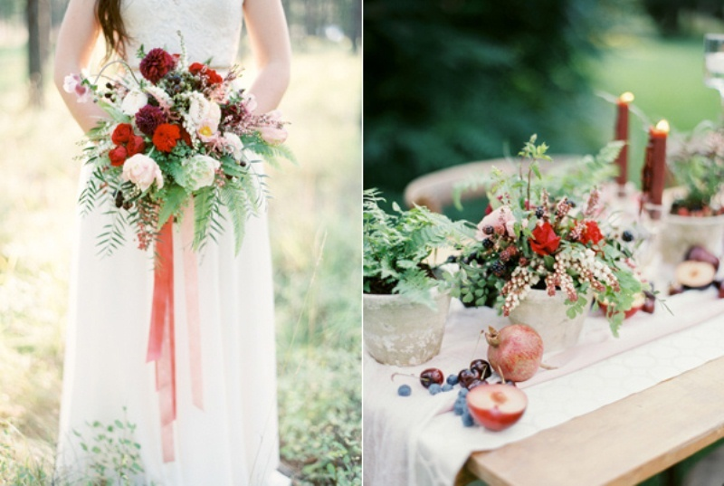Picture Of intimate ferns and fruit forest wedding inspiration  8