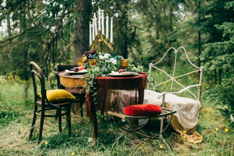 Picture Of intimate vintage inspired forest wedding  1