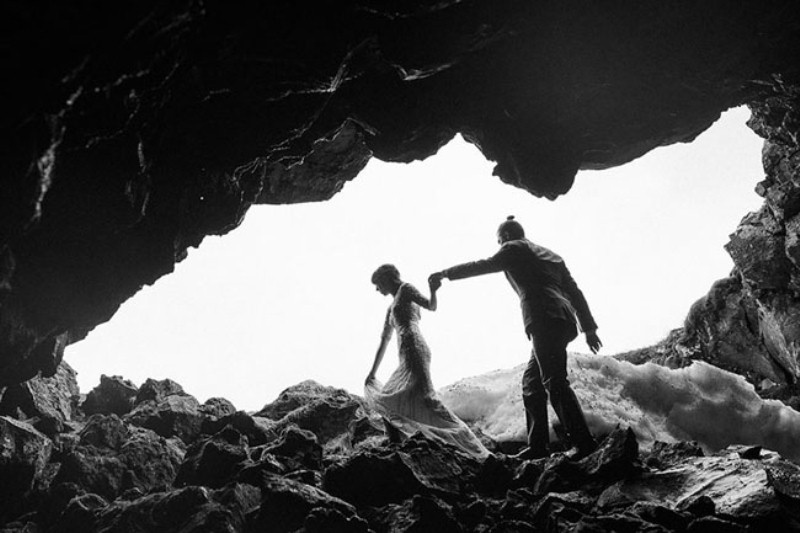 Picture Of intimate vow exchange on iceland honeymoon  10