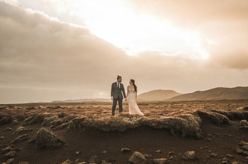 Picture Of intimate vow exchange on iceland honeymoon  15