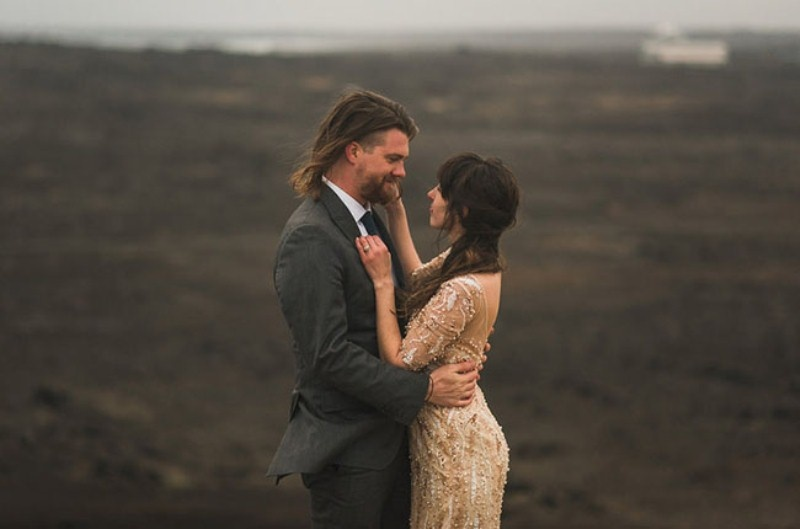 Picture Of intimate vow exchange on iceland honeymoon  17