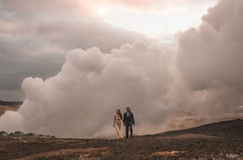 Picture Of intimate vow exchange on iceland honeymoon  22