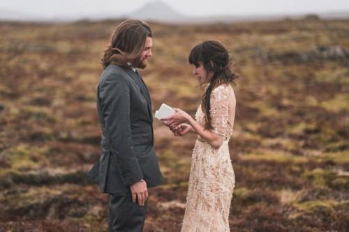 Intimate Vow Exchange On Iceland Honeymoon
