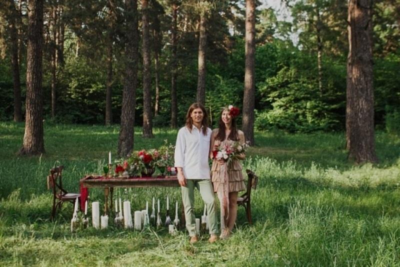 Picture Of joyful marsala woodland wedding inspiration  1