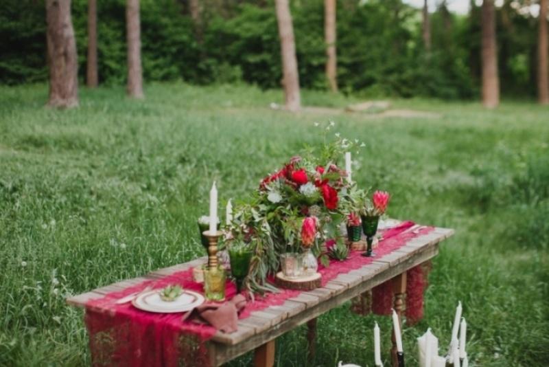 Picture Of joyful marsala woodland wedding inspiration  11