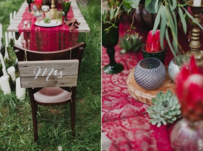 Picture Of joyful marsala woodland wedding inspiration  12