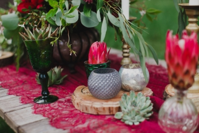Picture Of joyful marsala woodland wedding inspiration  13