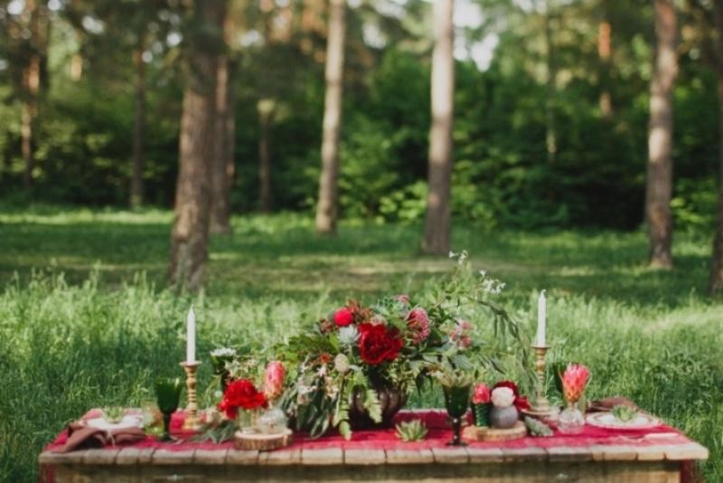 Picture Of joyful marsala woodland wedding inspiration  14