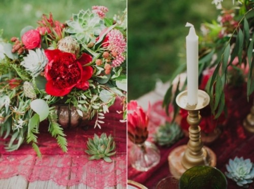 Joyful Marsala Woodland Wedding Inspiration