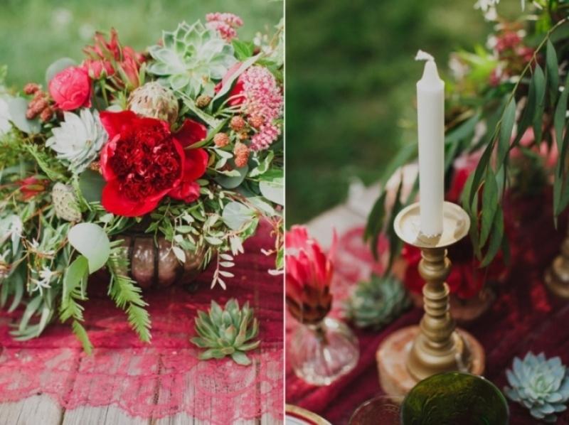 Picture Of joyful marsala woodland wedding inspiration  15