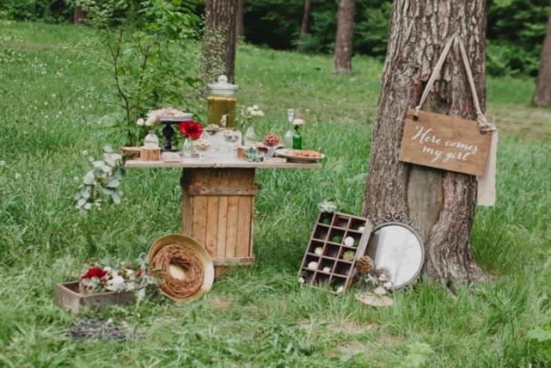 Picture Of joyful marsala woodland wedding inspiration  17