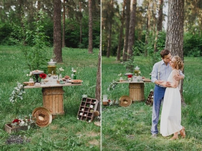 Picture Of joyful marsala woodland wedding inspiration  18
