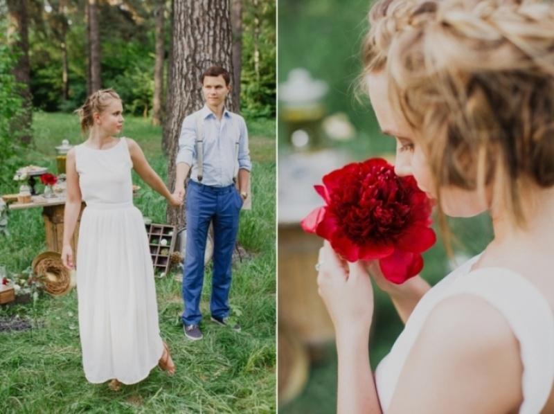 Picture Of joyful marsala woodland wedding inspiration  19