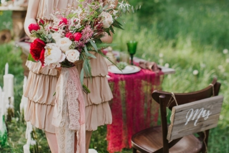Picture Of joyful marsala woodland wedding inspiration  21