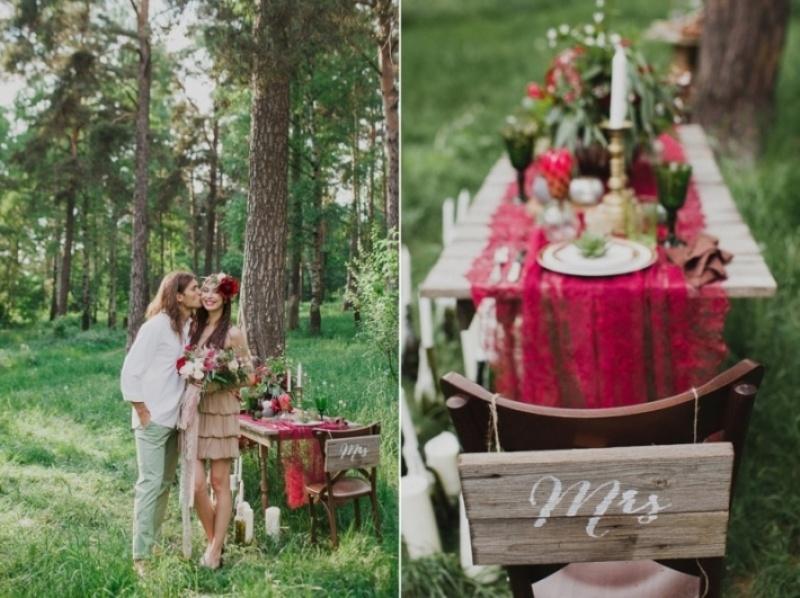 Picture Of joyful marsala woodland wedding inspiration  22
