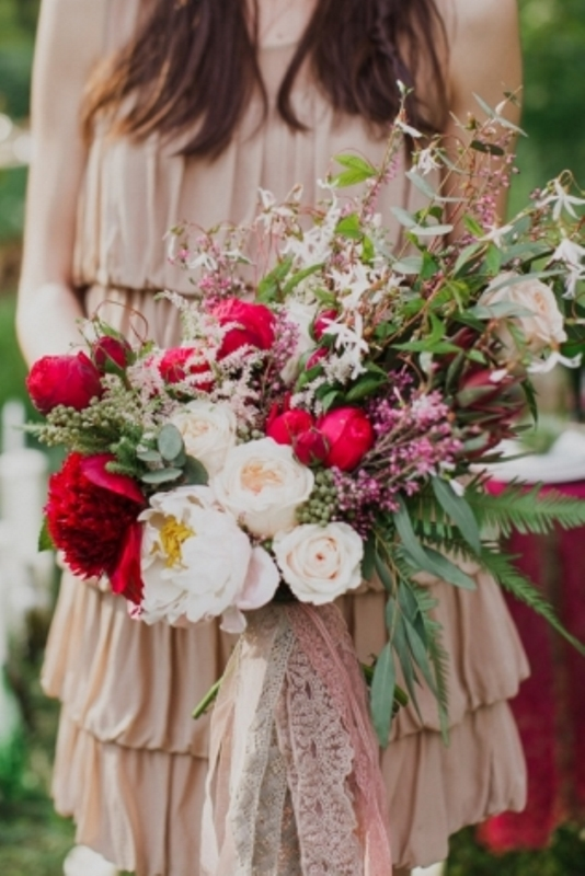 Picture Of joyful marsala woodland wedding inspiration  23