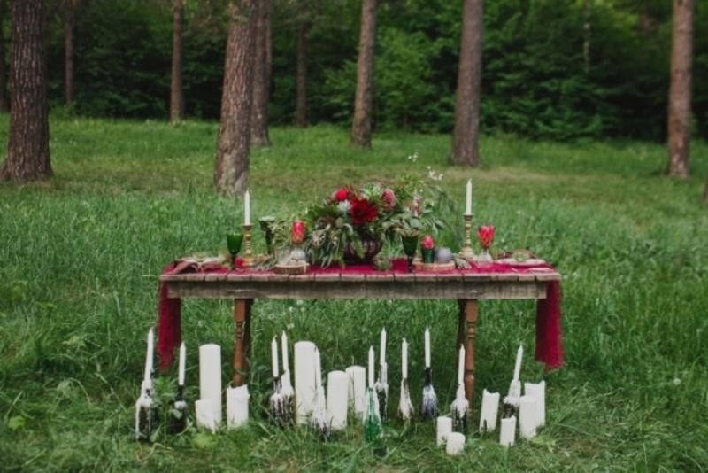 Picture Of joyful marsala woodland wedding inspiration  5