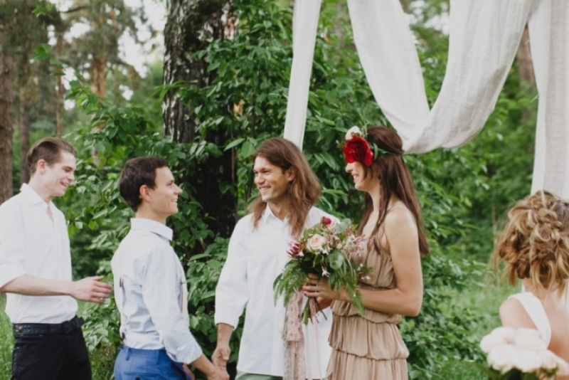 Picture Of joyful marsala woodland wedding inspiration  6