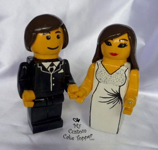 Legos customized as cake toppers are a fun and quirky idea to accent your wedding cake