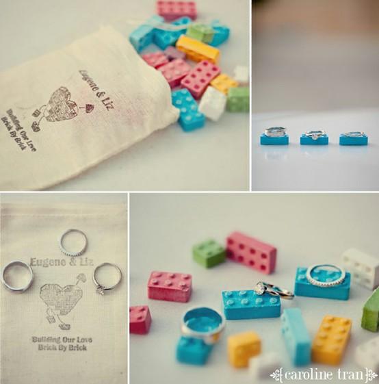 Lego parts as wedding favors and for styling your wedding rings for pretty pics