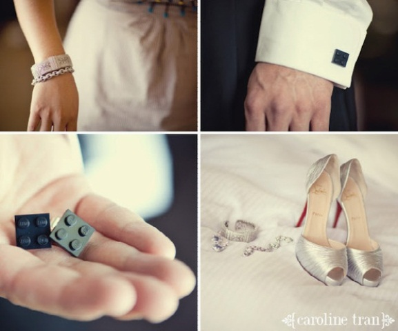 Legos as cuff links and for bridal accessories are super fun and creative