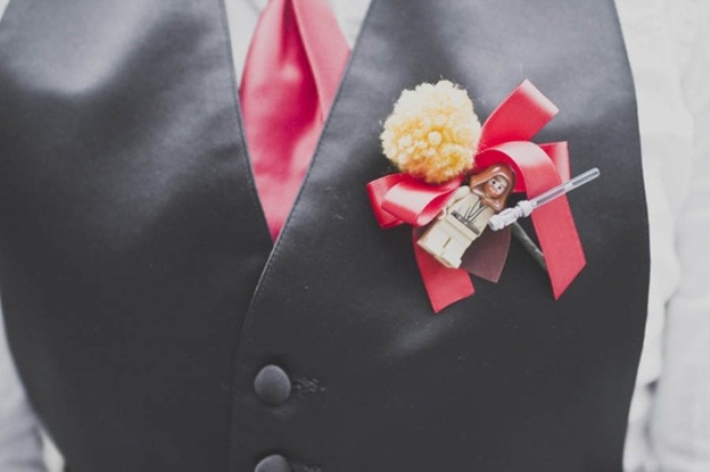 a Star Wars Lego boutonniere is a bright and fun idea for a modern wedding