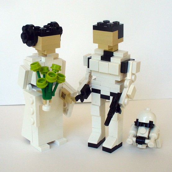 Star Wars inspired wedding figurines in black and white made of Lego are pretty and cool wedding decorations