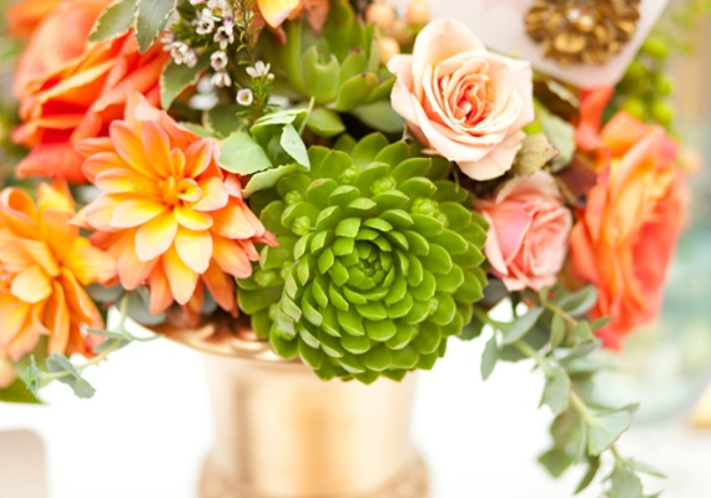 Picture Of Light And Modern Coral Mint And Gold Wedding ...