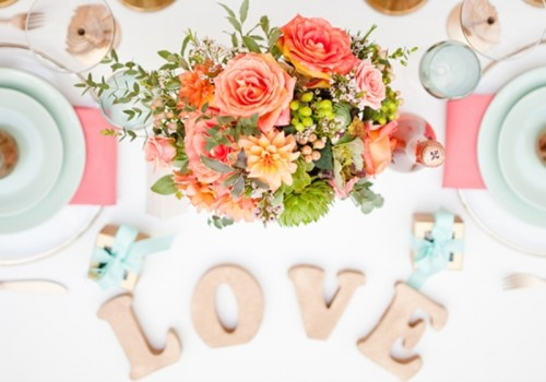 Light And Modern Coral Mint And Gold Wedding Inspirational Shoot