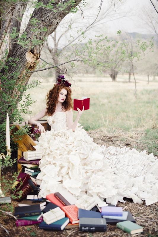 Literary Inspired Wedding With A Book Page Dress
