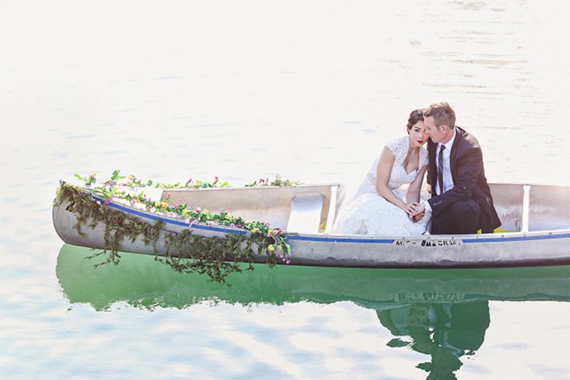 Picture Of lovely canoe trash the dress post wedding shoot in texas  10
