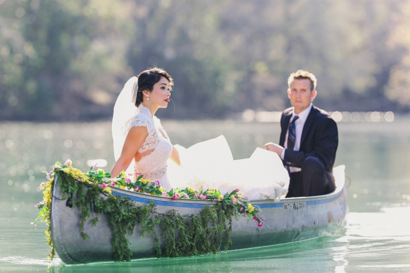Picture Of lovely canoe trash the dress post wedding shoot in texas  2