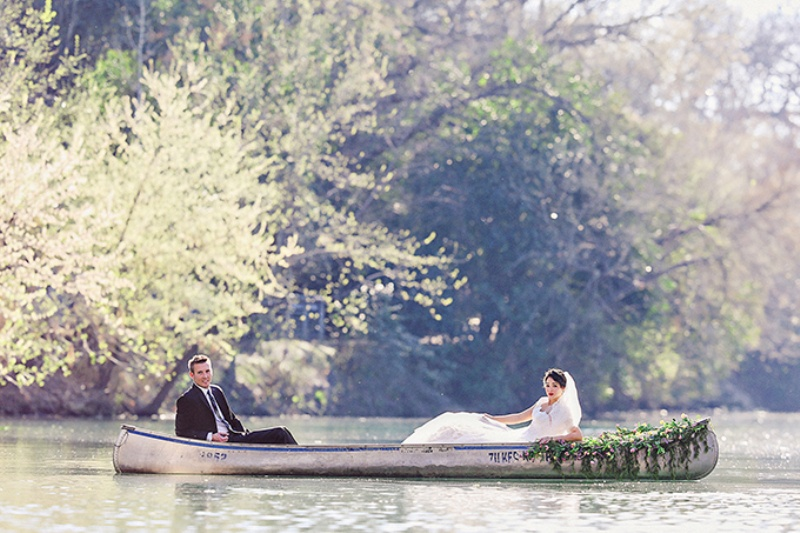 Picture Of lovely canoe trash the dress post wedding shoot in texas  3