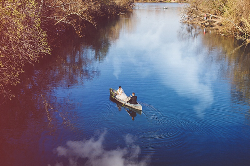 Picture Of lovely canoe trash the dress post wedding shoot in texas  4