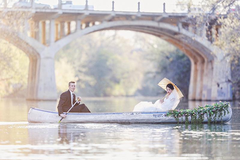 Picture Of lovely canoe trash the dress post wedding shoot in texas  6