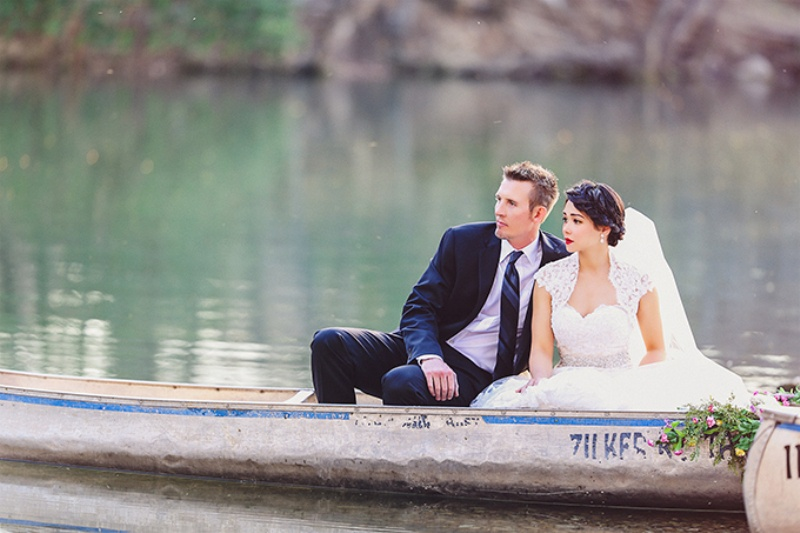 Picture Of lovely canoe trash the dress post wedding shoot in texas  9