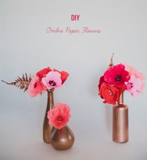 Lovely DIY Ombre Crepe Paper Flowers For Your Wedding Decor
