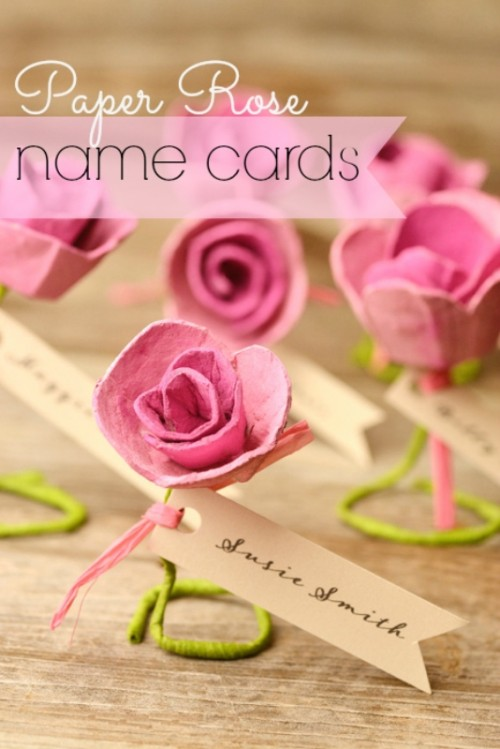Lovely DIY Paper Roses Wedding Escort Cards
